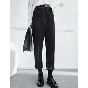 Pants - HIGH WAIST CONTRAST STITCHING TROUSERS